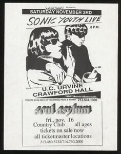 SONIC YOUTH w/ Soul Asylum at UC Irvine (1990) PUNK flyer Raymond Pettibon