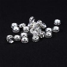 100x Silver Rondelle Spacer 6mm Beads Rhinestone Jewelry Making Crafts Scrapbook