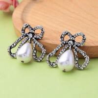 Boucles d'oreilles Argenté Gros Noeud Papillon Perle Goutte Blanc Art Deco XX30