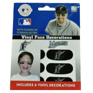 MLB Florida Marlins Baseball 6 Vinyl Face Decorations Eye Strips Novelty Item