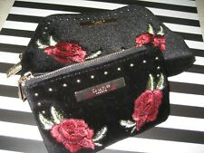 NEW Black Velvet Burgandy Red Roses DUNE LONDON Zip BAG CLUTCH Mini CHOOSE SIZE