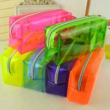 Mult Color Zipper Stationery Pencil Case Cosmetic Bag Pouch Storage Clear Cnsdm