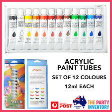 Acrylic Colours 12ml Paint Tubes Set of 12 Art & Craft Painting Starter Kit