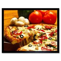 Photo Food Pizza Cheese Tomato Mushroom Olive 12X16 Inch Framed Art Print