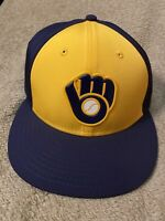 MILWAUKEE BREWERS NEW ERA 59FIFTY MLB BASEBALL FITTED HAT CAP SIZE 6 7/8
