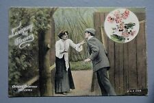 R&L Postcard: Welch Edwardian, Lady & Gent Chinese Primrose Laguage of Flowers