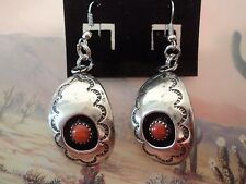 NATIVE SOUTHWEST STERLING SILVER & CORAL CONCHA STYLE  EARRINGS HAND MADE #34