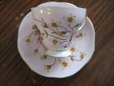 Houstinia Caerulea-Bone China-Cup and Saucer-England-pink with yellow flowers