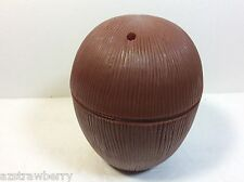 12 Plastic Brown Coconut Cups with lids Glasses tropical Luau Party Decor New