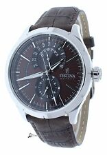 Festina F16573/6 Mens Brown Leather Strap Watch Brown Dial 24-Hour Subdial