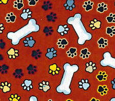 Puppy Dog Bones Paw Prints on Rusty Brown Flannel  BTY