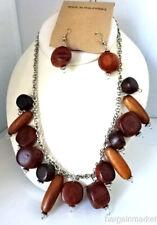 Boho Vintage Chunky Wood Beads Necklace Choker Earrings