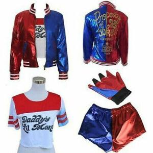 UK Suicide Squad Harley Quinn Cosplay Costume T-shirts Coat Jacket Festivals