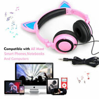 Cat Ear Headphones Foldable Wired Flashing LED Light Glowing Fancy for Girls PC