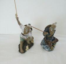TWO CHINESE MUDMEN FIGURINES FISHING w/FISH ON ROD