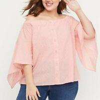 Top 18/20 26/28 Pink Stripes Off Shoulder Lane Bryant Shirt Blouse Seersucker