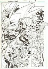 Hawkman #47 p.9 - Hawkman Battle Splash - 2006 Signed art by Chris Batista Comic Art
