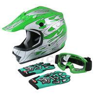 Youth Kids ATV Motocross Dirt Bike MX Green Flame Helmet+Goggles+Gloves S/M/L/XL