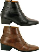 Men Side Zipper Casual/Formal Pointy Toe Low Heel Ankle New Boots UK Size 6-11