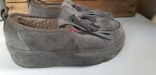FITFLOP Chunky Grey Suede Wedge Shearling Lined Moccasin Slippers Loafers 5 UK