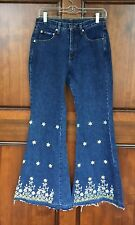 Signature America Hippie Floral Screen Print Bell Bottom Denim Jeans  Sz 7/8