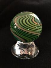 "Handmade Eddie Seese Signed Mint Marble 1.55"" Green Swirl Gold Lutz & Aventurine"