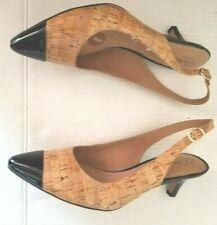 Nice CLARKS ARTISAN Size 10M Adj Slingback Heels Shoes Tan Cork Patent Black Tip