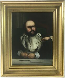 Fine British School Antique Portrait Gentleman Beard Oil Canvas Gilt Frame