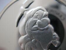 1 Oz. Pure.999 Silver Grumpy 7 Dwarfs Anniversary Disney Snow White Coin+Gold