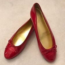 "$675 CHANEL ""BALLERINAS"" Red Patent Leather Ballet Flats - Size EU 40 / US 9"