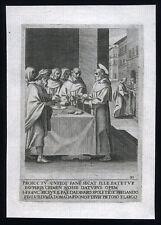santino incisione 1594 S.FRANCESCO D'ASSISI RICEVE IL PANE DA AVARO DI SPOLETO