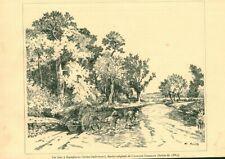 Gravure ancienne 1889 gué à Dampierre dessin de C. Gosselin issue du livre