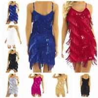 Women Sequin Fringe Latin Dance Dress 1920s Flapper Party Cocktail Short Dress