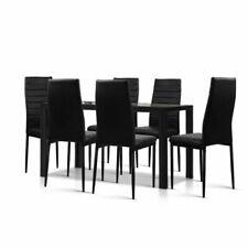 Artiss Astra 7-Piece Set Dining Table Set - Black