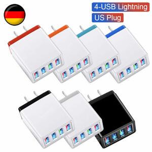 USB Ladegerät Schnellladung Ladeadapter 4-Port Netzteil EU Stecker Für Handy DE