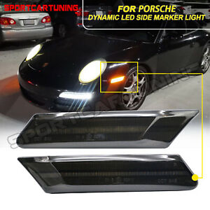 Sequential Smoked LED Side Marker Lights For Porsche 911 997 987 Cayman Boxster
