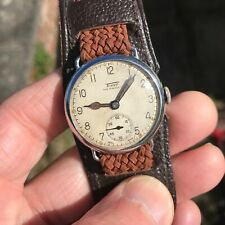 Very rare vintage 1930's Tissot radium dial 15J manual wind trench style watch