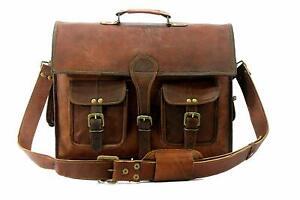 Distressed Leather Messenger Briefcase Shoulder Bag Vintage Brown Leather New