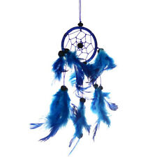 """Small Hanging Dream Catcher with Blue Hoop Feathers & Beads 9"""" Overall Length"""