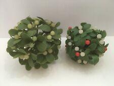 Two Vintage Round Plastic Mistletoe with Berries