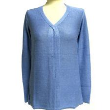 Damen Long Pullover Strick Pulli Pullover V-Ausschnitt Longpulli Gr. 40 hellblau