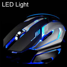 Rechargeable 2.4GHz Wireless Silent LED Light USB Optical Ergonomic Gaming Mouse