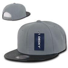 Gray & Black Solid Blank Flat Vinyl Bill Snapback Hip Hop Baseball Ball Cap Hat
