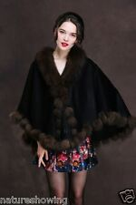 Opulent/Lady Real Cashmere Real Best Fox Fur Cloak poncho/Coat/Wraps/Cape/black