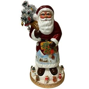 Ino Schaller Large Red Santa with Winter Scene and Toys German Paper Mache