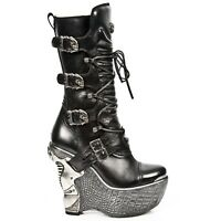 New Rock PZ003-S4 Black Gothic Ladies Leather Lace Up Wedge Heel Boots