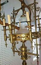 Chandelier Antique 1800's Brass Russian? Church Gothic Gas? Tilted. 6+1 lights