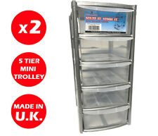 2 x 5 DRAWER SILVER TOWER UNIT -PLASTIC DRAWERS - STORAGE ORGANIZER - MINI/SMALL