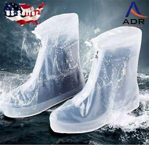 Waterproof PVC boot/shoe cover Slip resistant sole zipper closure adjustable 1pr