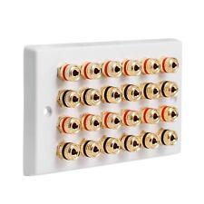 Speaker Wall Plate 12.0 24 Gold Binding Posts AV Audio Non-solder